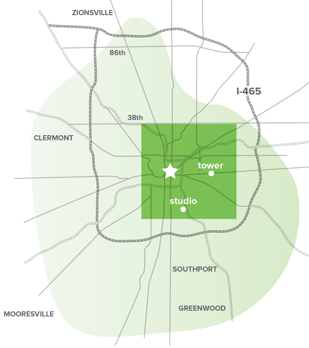 WQRT broadcasts from an eastside Indianapolis tower, with the  potential reach of nearly 500,000 residents  on the FM dial,  plus commuters and visitors  traveling through town.  This map shows reported coverage area, with reception strongest in  Center Township .    (Reception may vary depending on a listener's antenna, large structures, topography, and electrical interference like larger broadcast towers.)