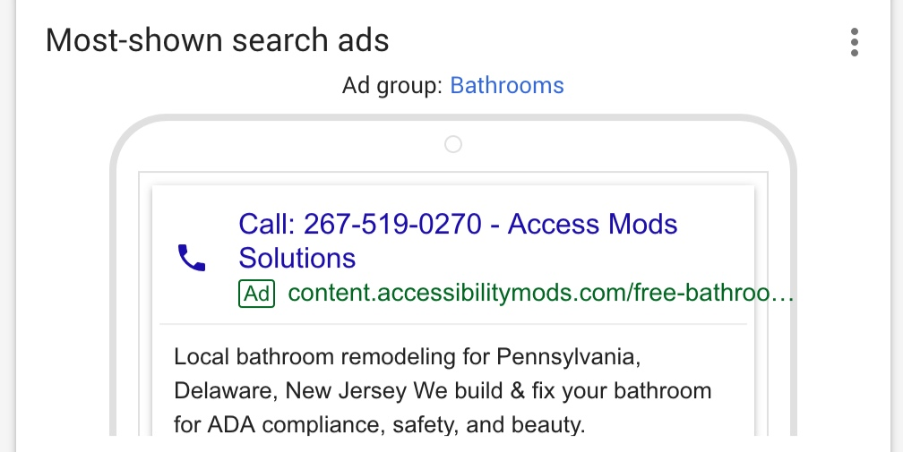 One of the search ads I created.