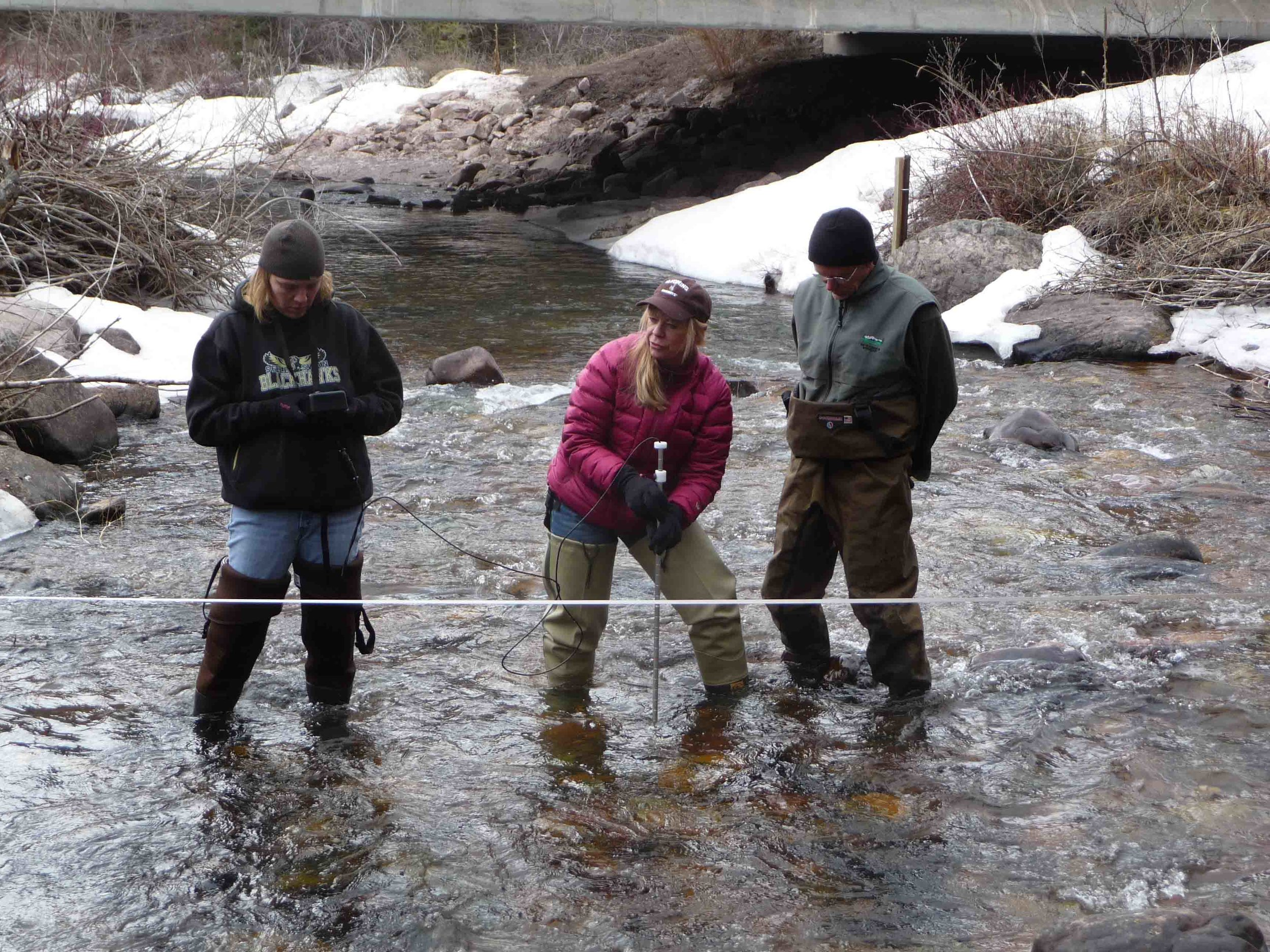 Training teachers to measure stream flow.