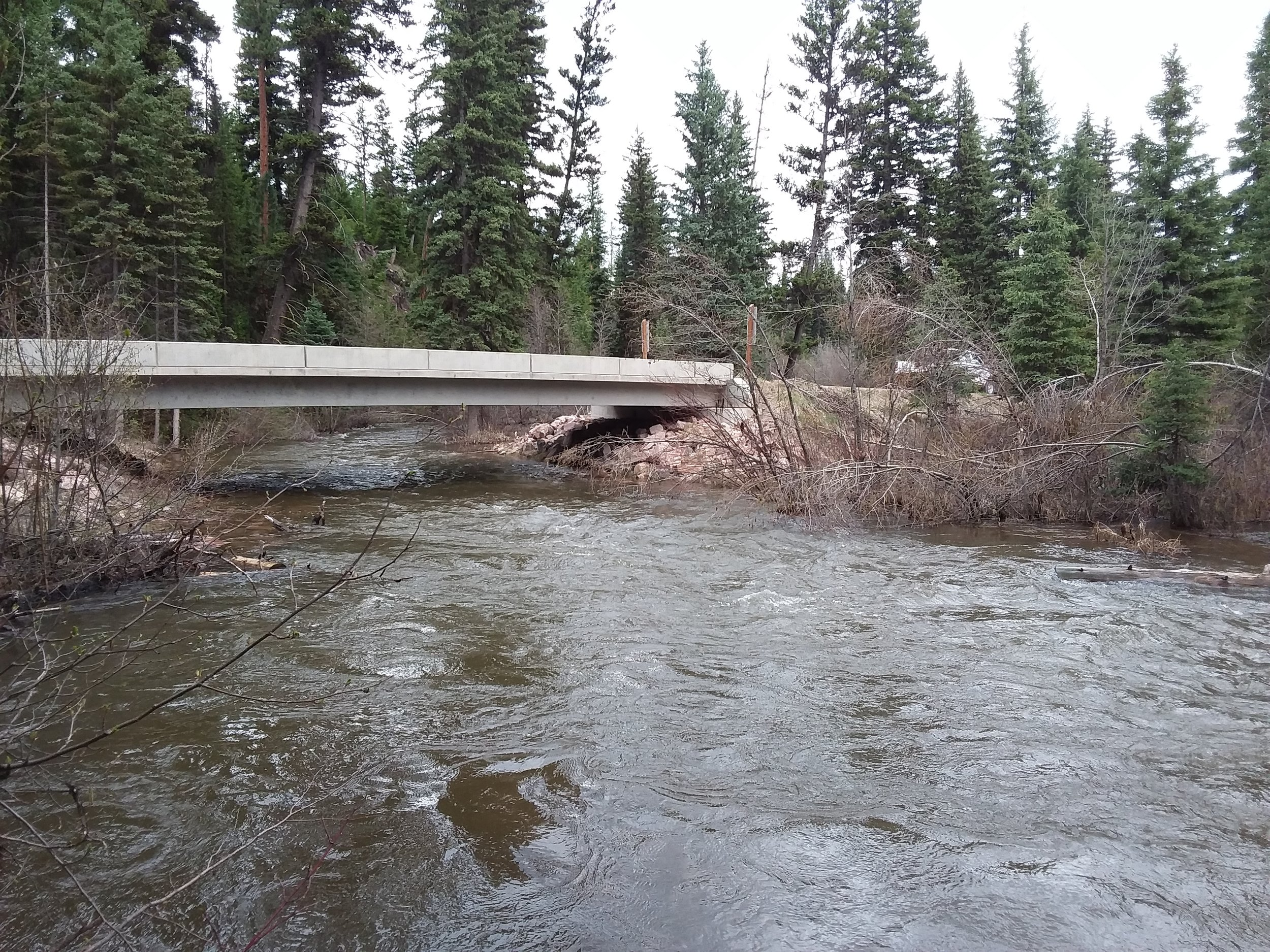 New Trail Creek bridge during 2018 high-water.