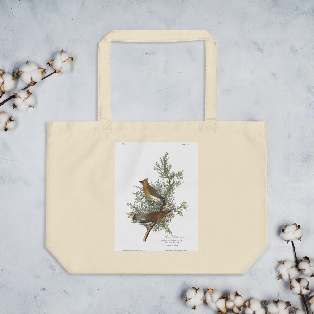 Cedar Waxwing Organic Cotton Tote Bag