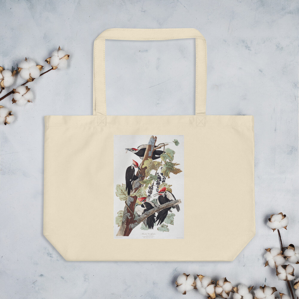 Pileated Woodpecker Organic Cotton Tote Bag