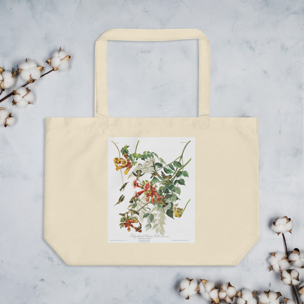 Ruby Throated Hummingbird Organic Cotton Tote Bag