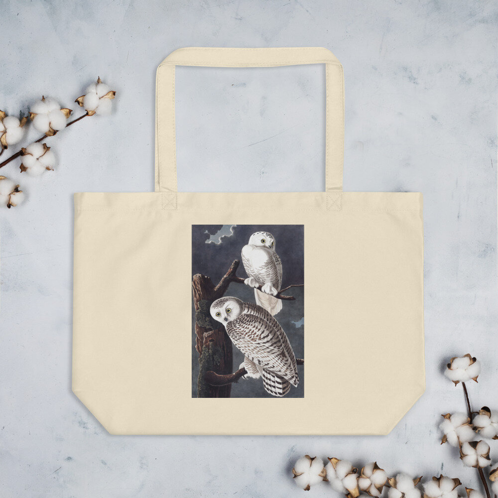 Snowy Owl Organic Cotton Tote Bag