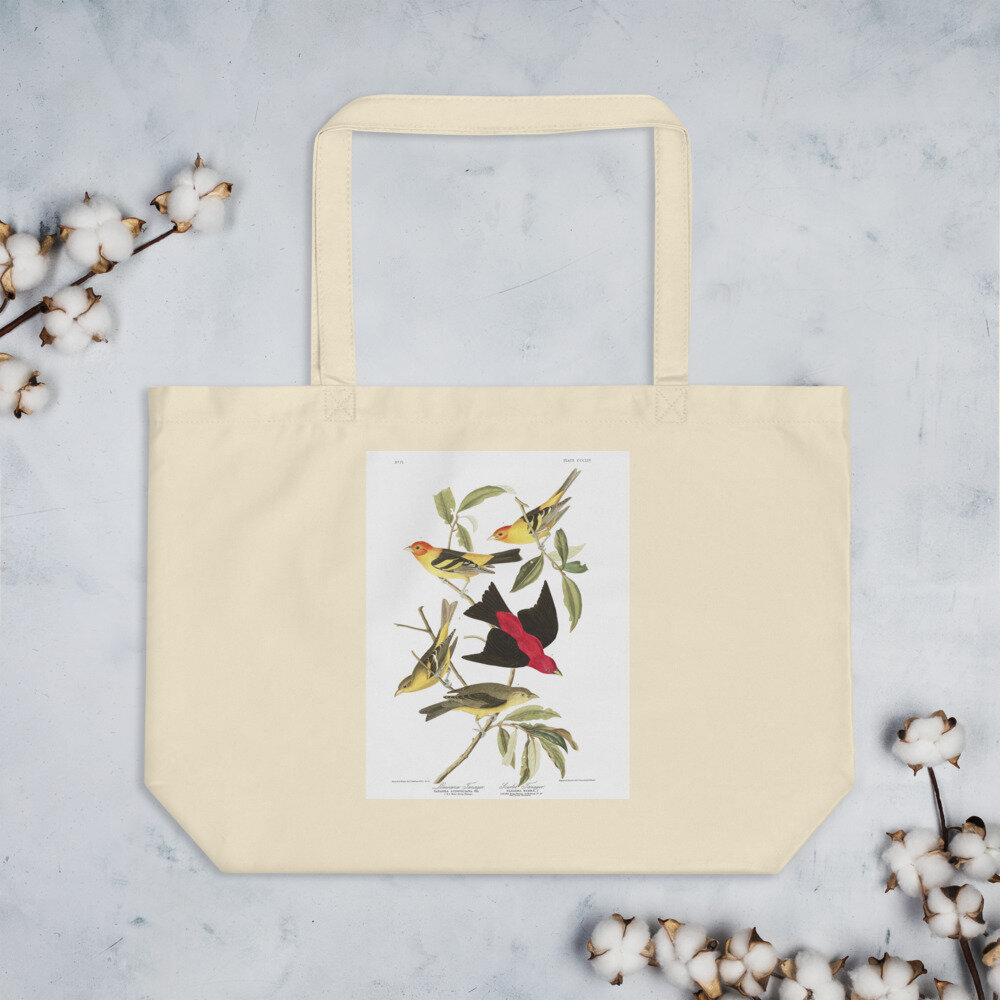 Western & Scarlet Tanager Organic Cotton Tote Bag