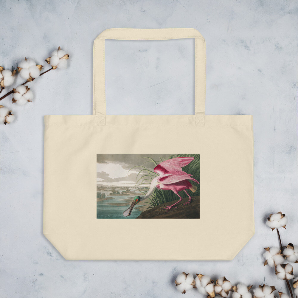 Roseate Spoonbill Organic Cotton Tote Bag: Click for More