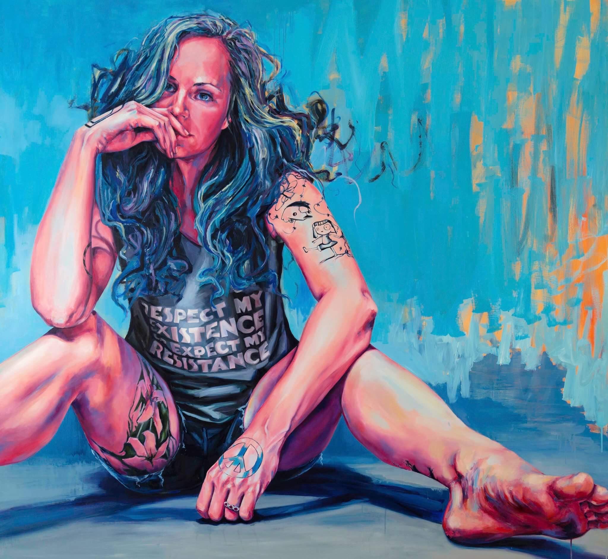 """Sarah Stolar   Her Existence, 2017 oil on canvas 66x72"""""""