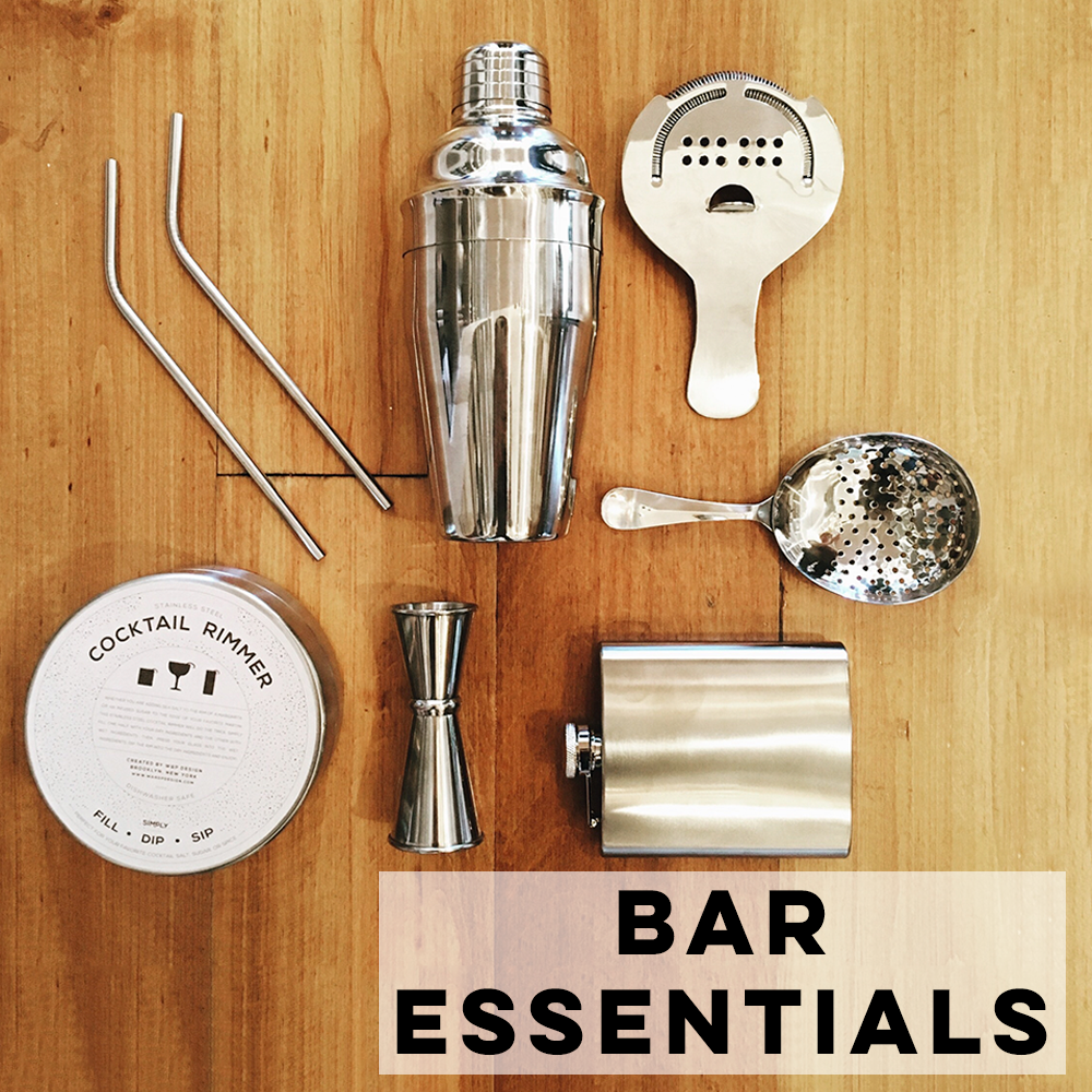 Everything you need for the bar: tools, juicers, shot glasses, syrups, and more.