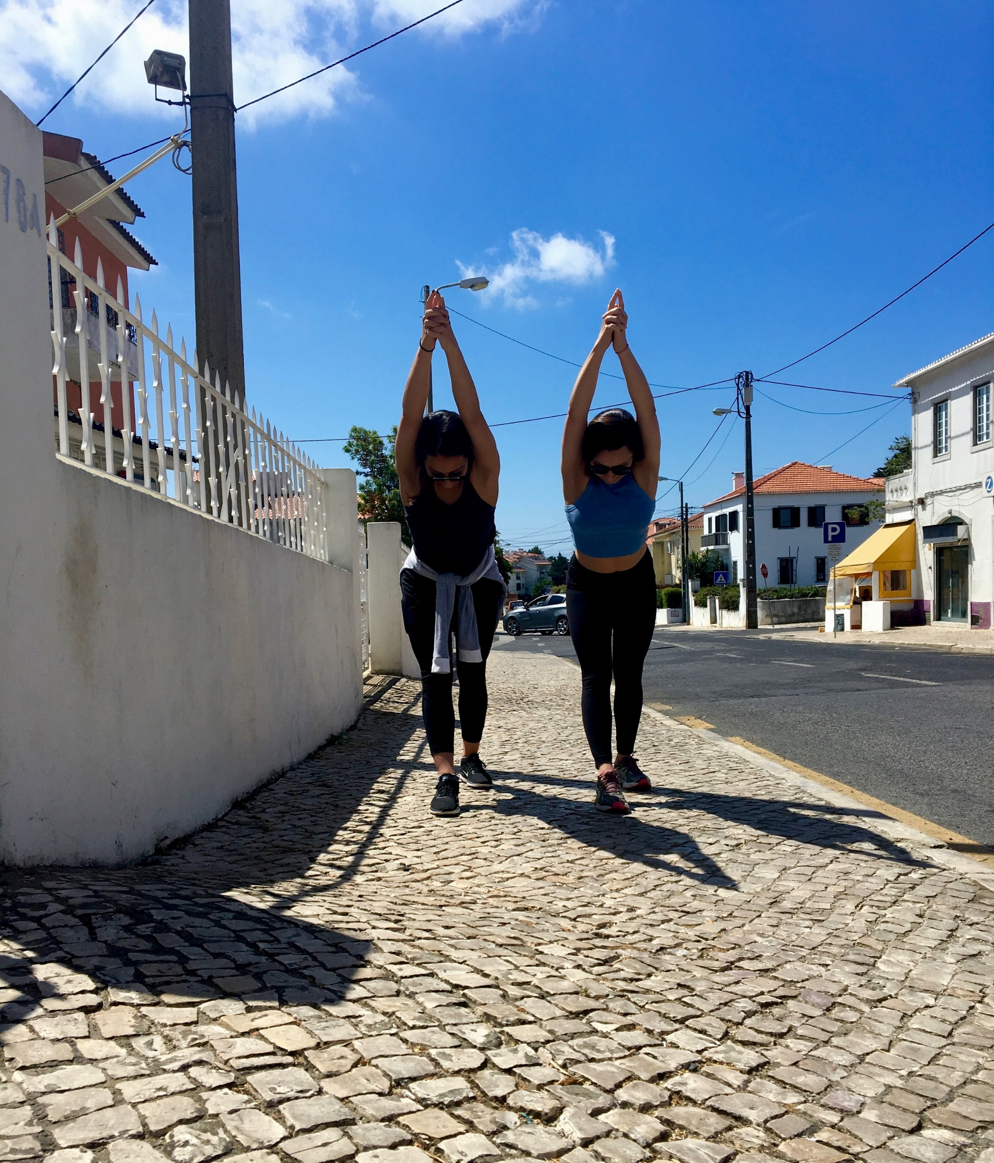 Doing yoga while we wait for the bus to Sintra to arrive! Sintra, Portugal  @lovethealchemist