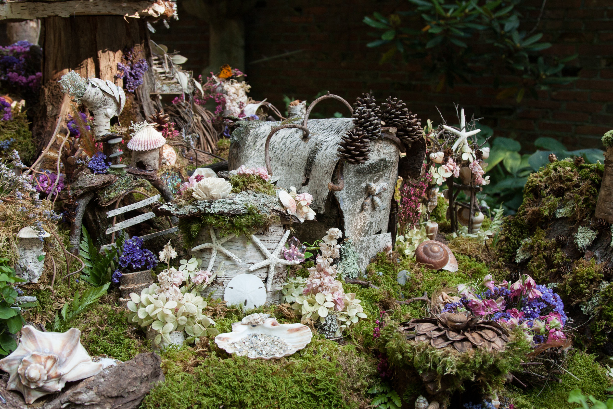 Birch and Seashell Fairy Houses -Nancy Ames-