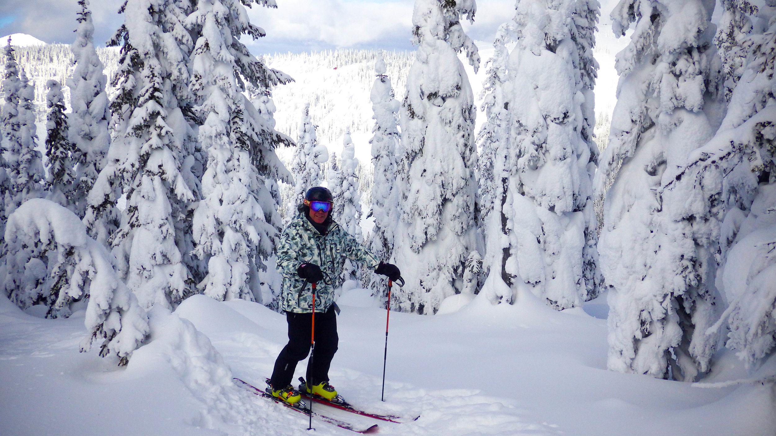 Brad among the snow covered trees of Big White