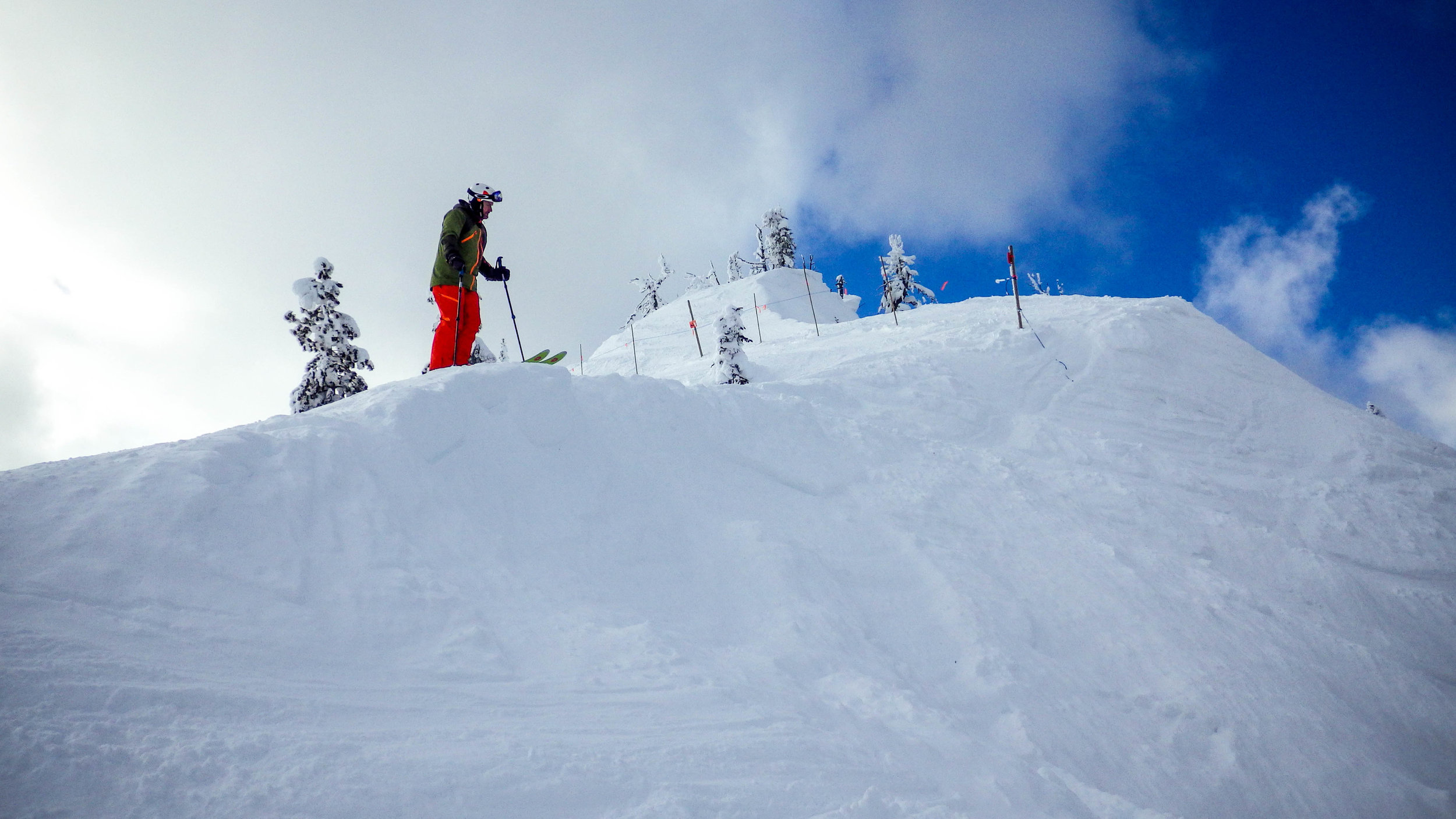 I'm picking my line through one of the many chutes at Red Mountain