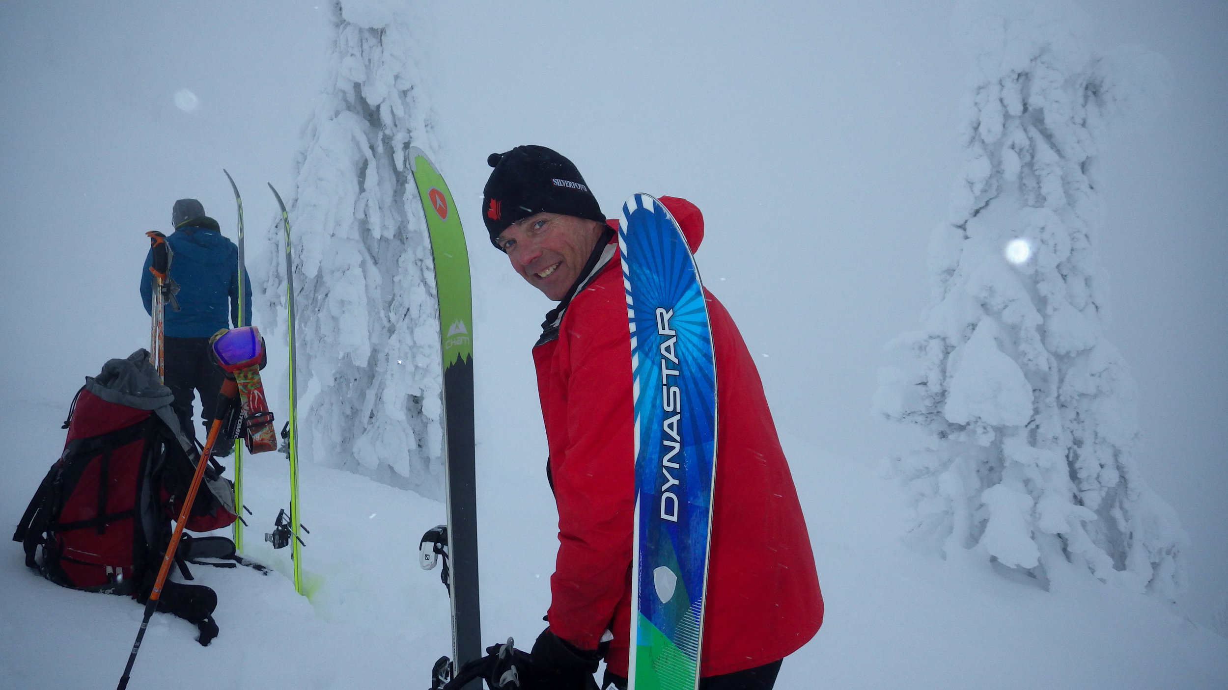 Getting ready to ski after skinning up at Whitewater