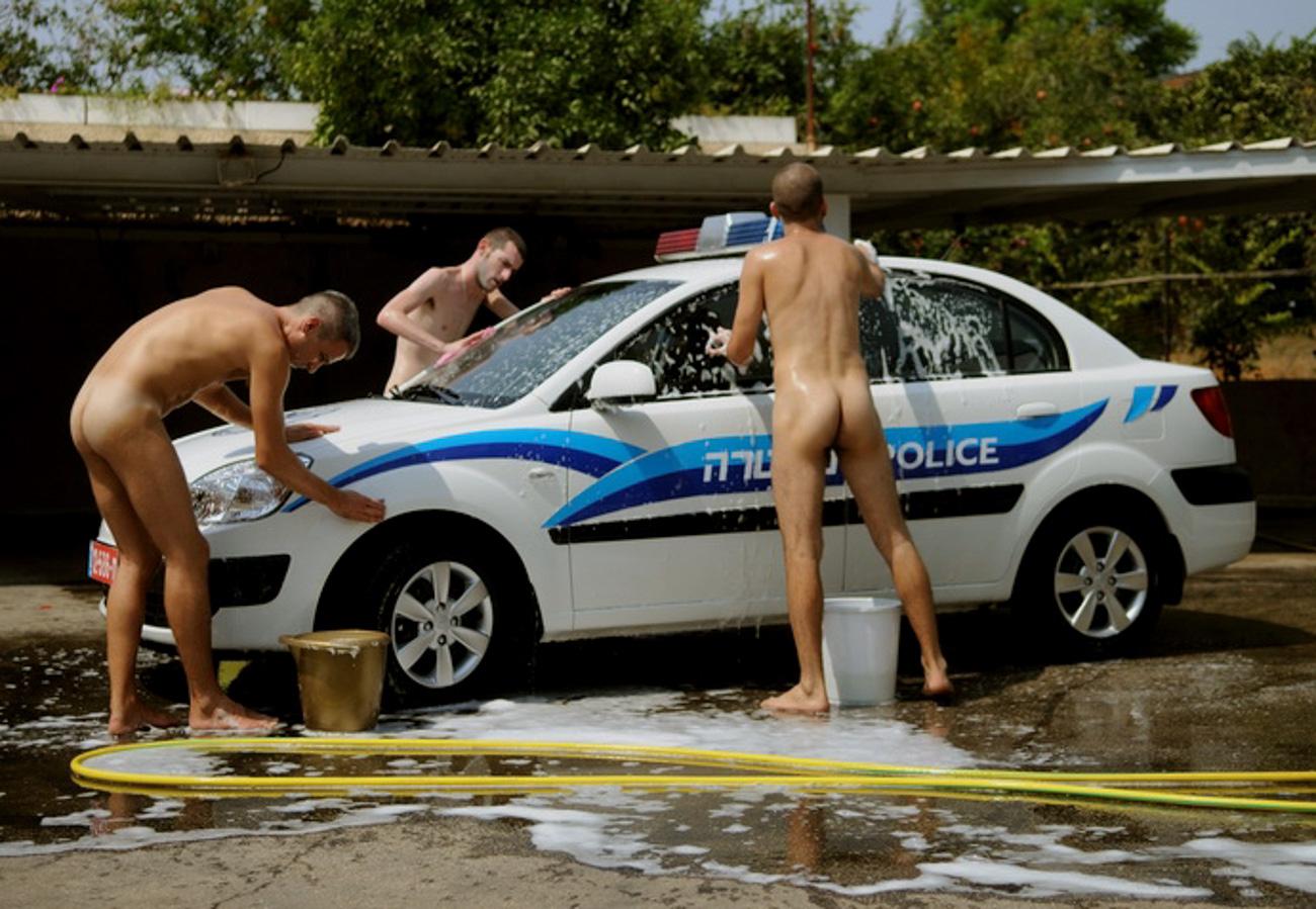 Naked men washing car wash