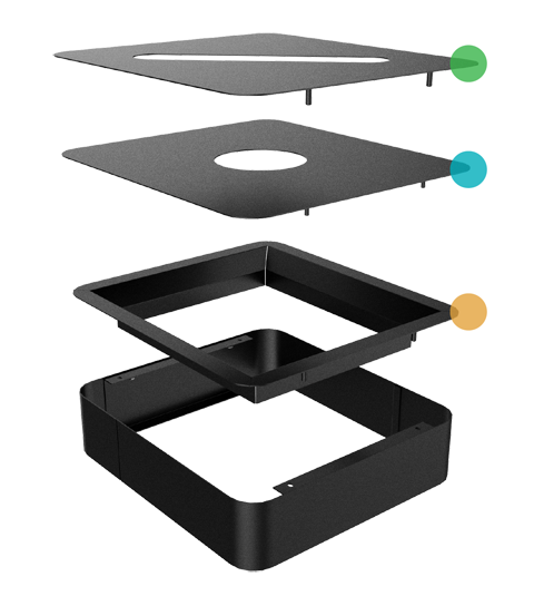 render of the interchangeable lids for the Echelon Waste Receptacle Collection