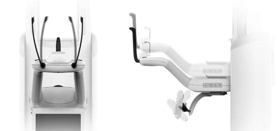 Detailed front and side view demonstrating the adjustability of the Progeny Vantage Panoramic X-ray's Patient-Arm