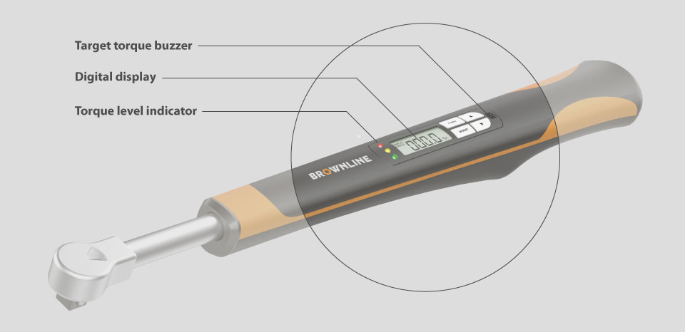 location of target torque buzzer, digital display and torque level indicator called out on a Brown Line Digital Torque Wrench rendering