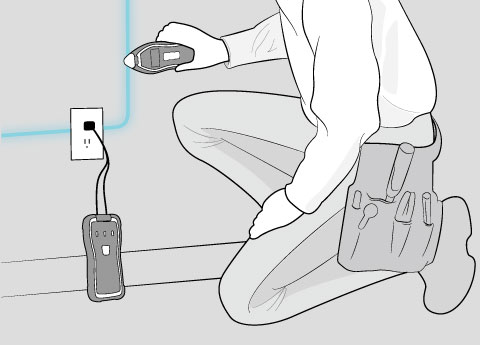 illustration of a professional tradesman using Suretrace Circuit Tracer on wall