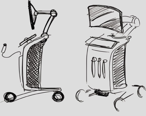 angled and side view sketch of the Professional Ultrasound concept