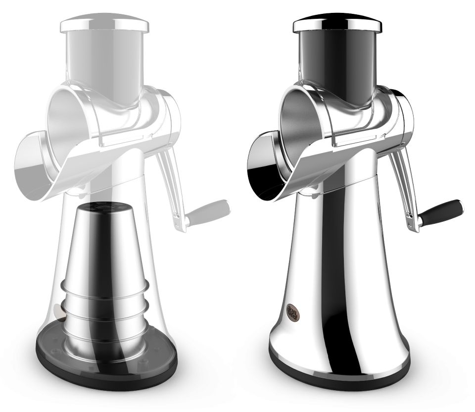 high quality render of the HyCite Food Cutter's internal storage on left and final design on right