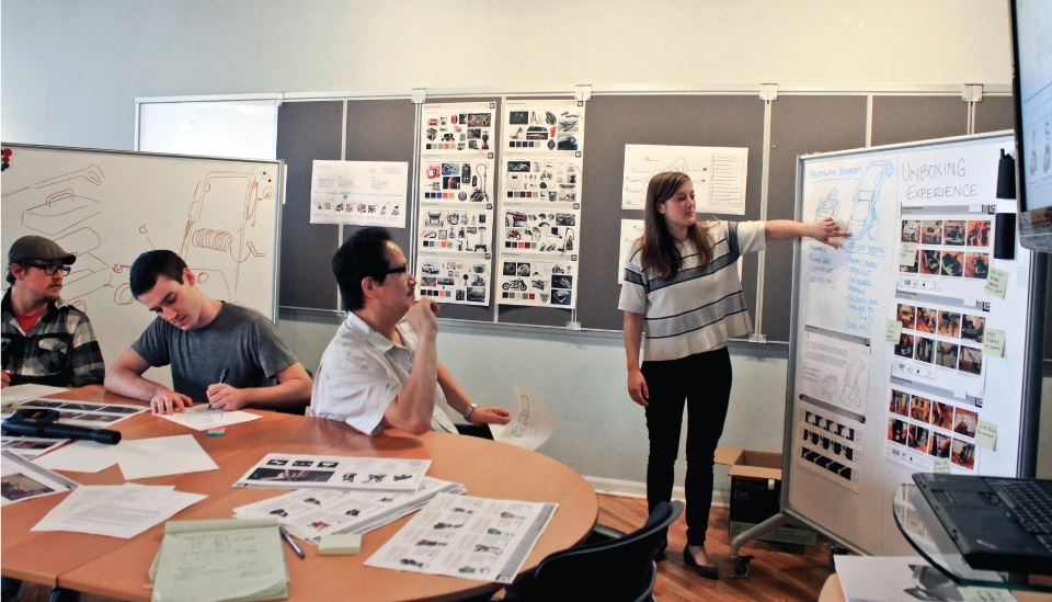 designers discussing product design research in an office