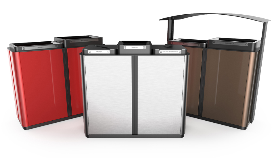 three Waste Receptacles in different colors and modular configurations