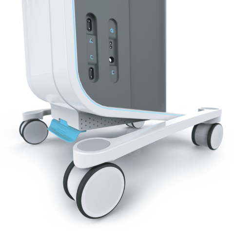 detailed view of the Professional Ultrasound's base, wheels and blue LED light strip