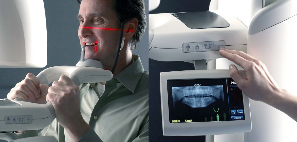 patient experiencing dental x-ray on left, dental assistant interacting with Progeny Vantage Panoramic X-ray System on right