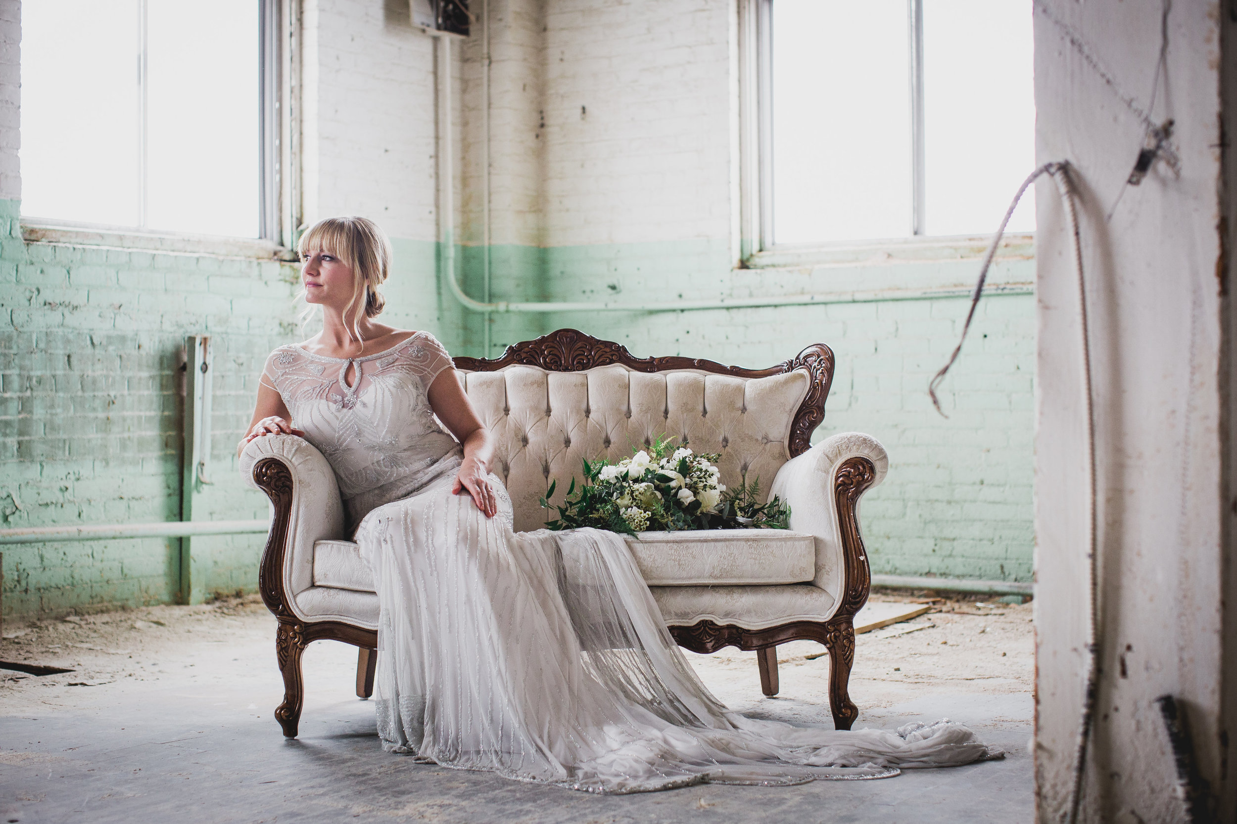 Elegant Green & Grey Warehouse Wedding Inspiration