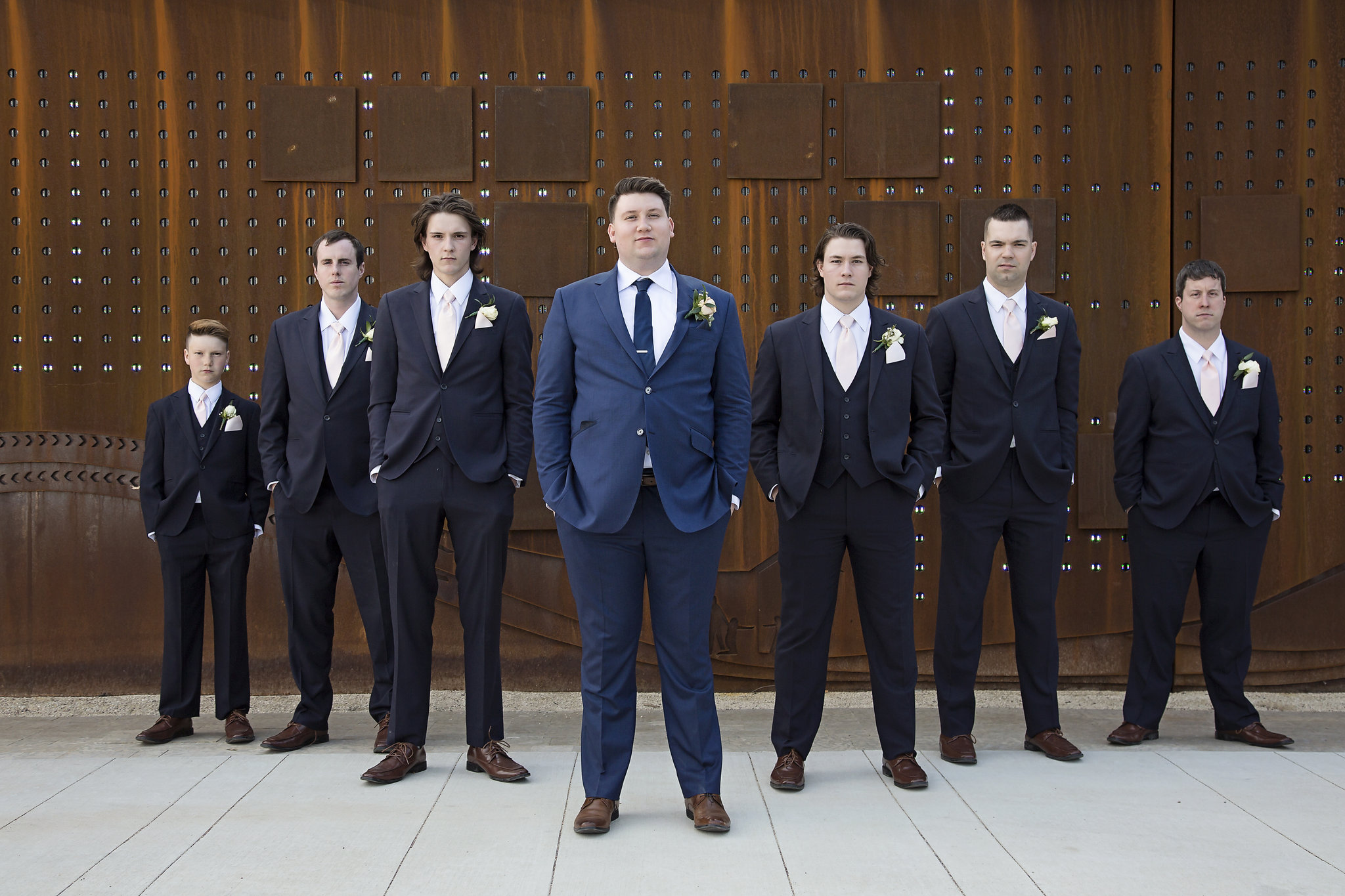 I loved the contrast of Josh's navy suit with the black ones the groomsmen wore.
