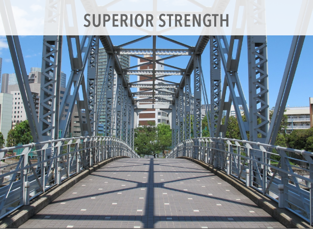 Steel has the highest strength-to-weight ratio of any building material. It's flexible, straight, non-porous, durable, lightweight, and maintains dimensional stability.