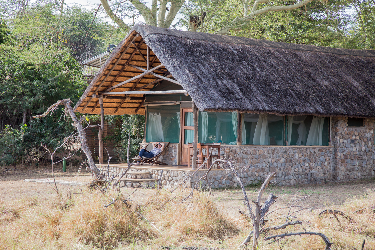 Our chalet at Mvuu Camp. We could watch the hippos eating grass in our front yard around midnight.