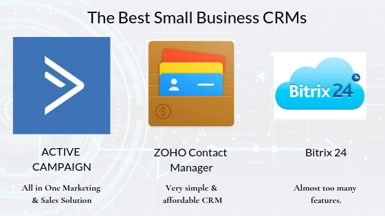 The best CRMs for small Business - Active Campaign - All in one marketing and sales solution, ZOHO Contact Manager - Very simple and and easy to use CRM. Bitrix 24 - Almost too many features. One for the nerds only.