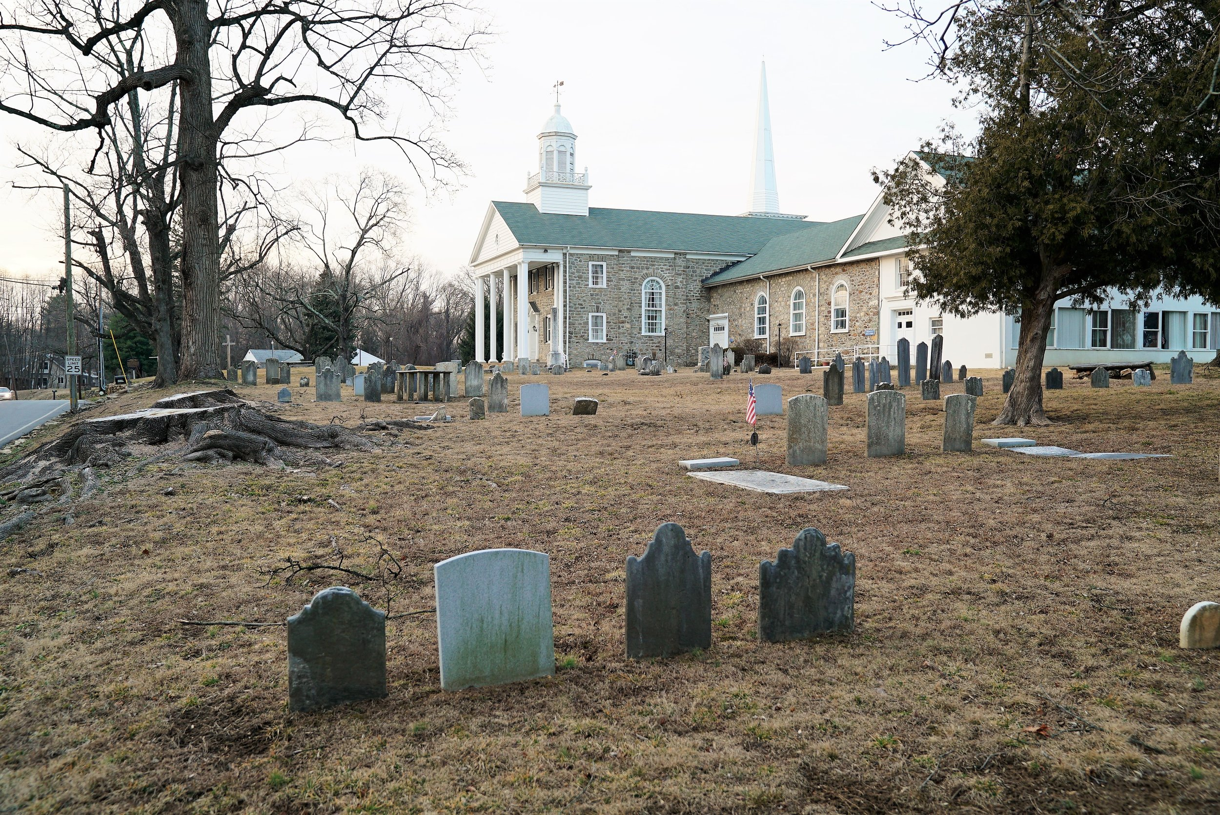 Middletown Presbyterian Church Cemetery. Front, side view. This is a very old cemetery.