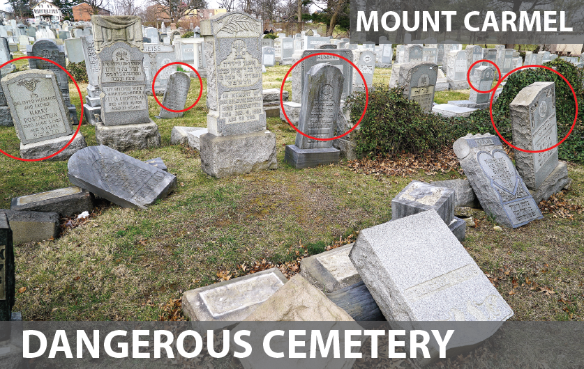 It was the vandal damage at Mount Carmel Cemetery in Philadelphia that brought me here. Besides the destruction, I also discovered that Mount Carmel is a dangerous cemetery, and not at all suitable for children. A child could easily push a stone on to another child.