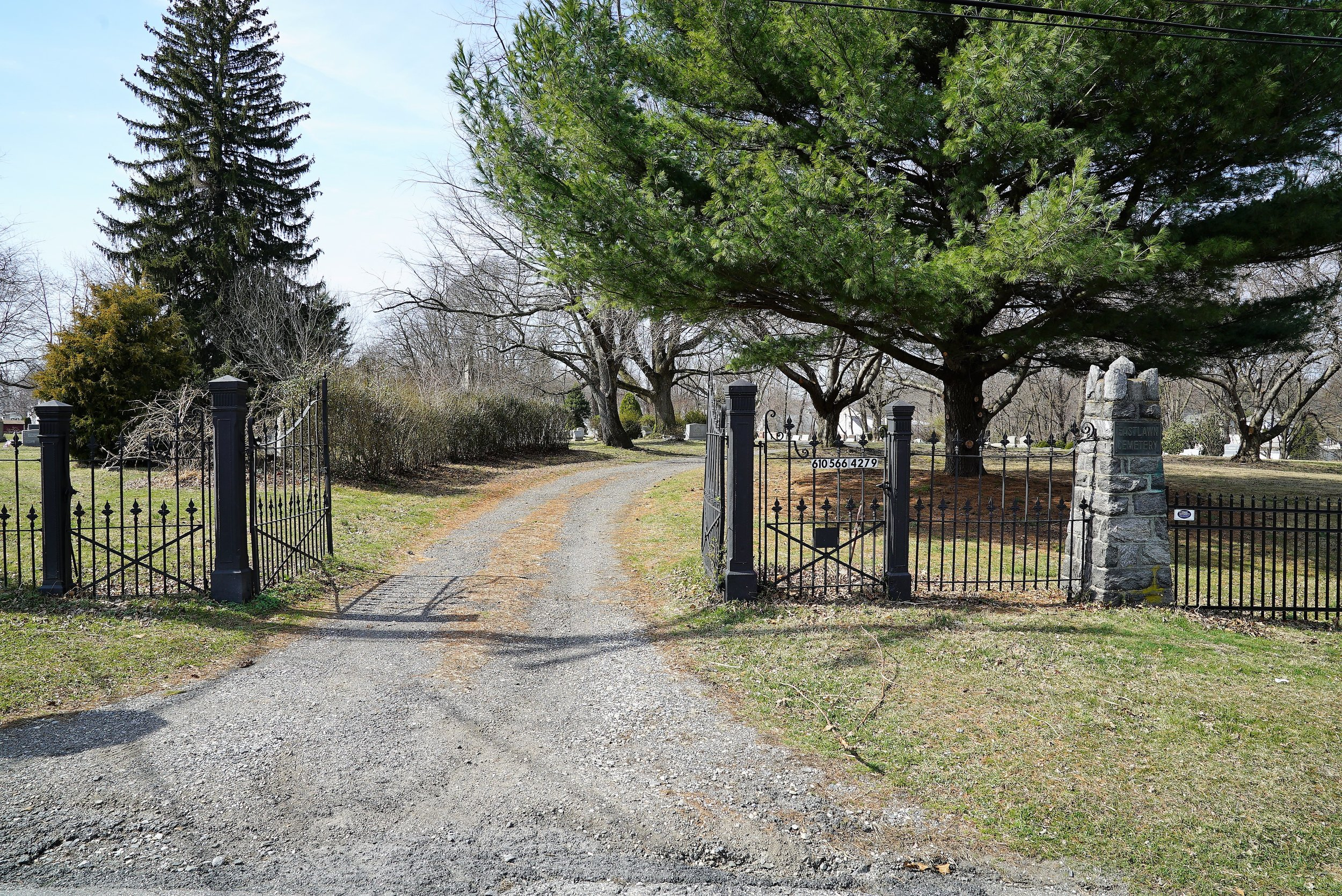 Entrance to Eastlawn Cemetery in the neighborhood known as Milmont Park, Ridley Township, Pennsylvania.