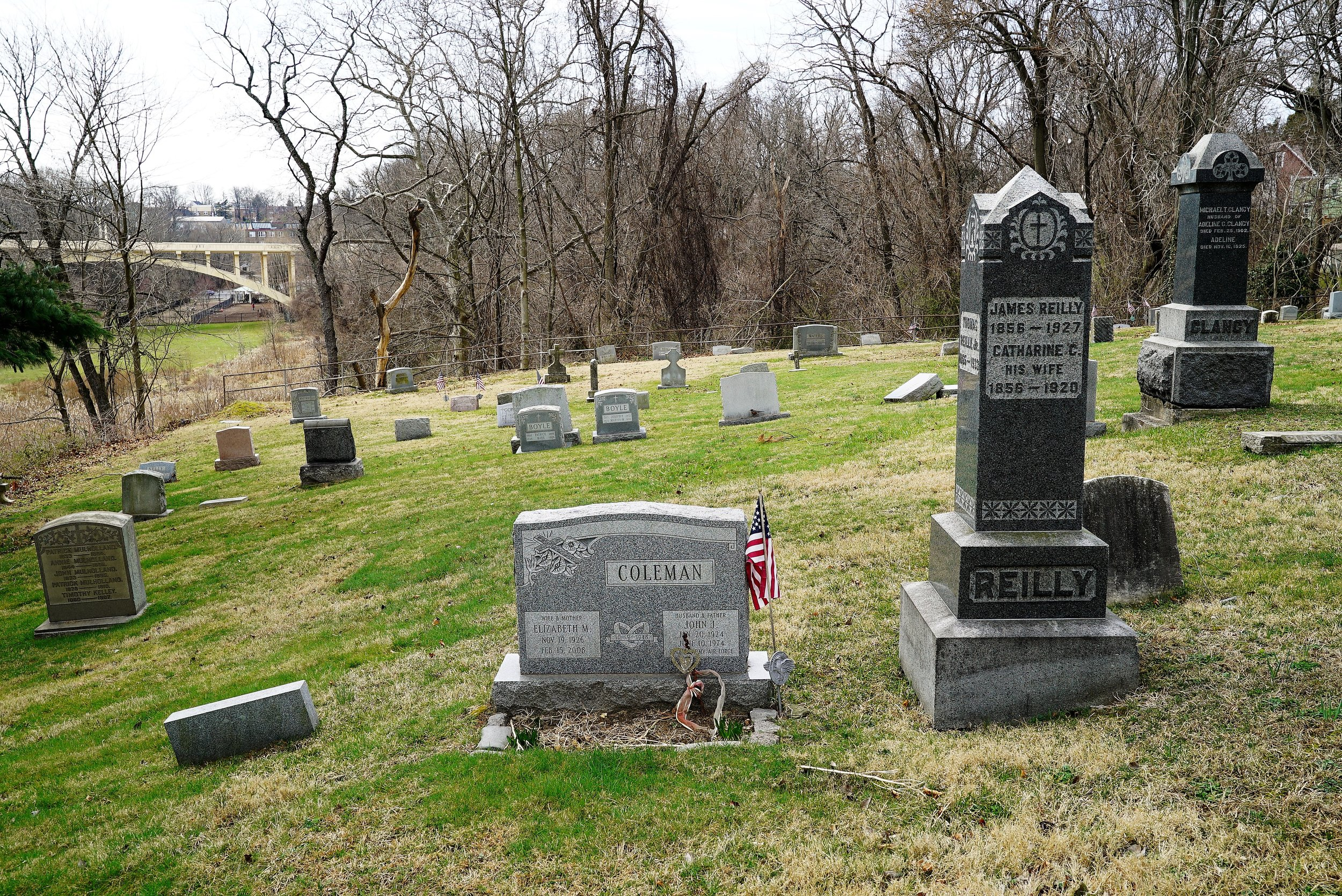 Photo showing the hilly terrain at Saint Charles Boromeo Catholic Church Cemetery. Drexel Hill, Pennsylvania.