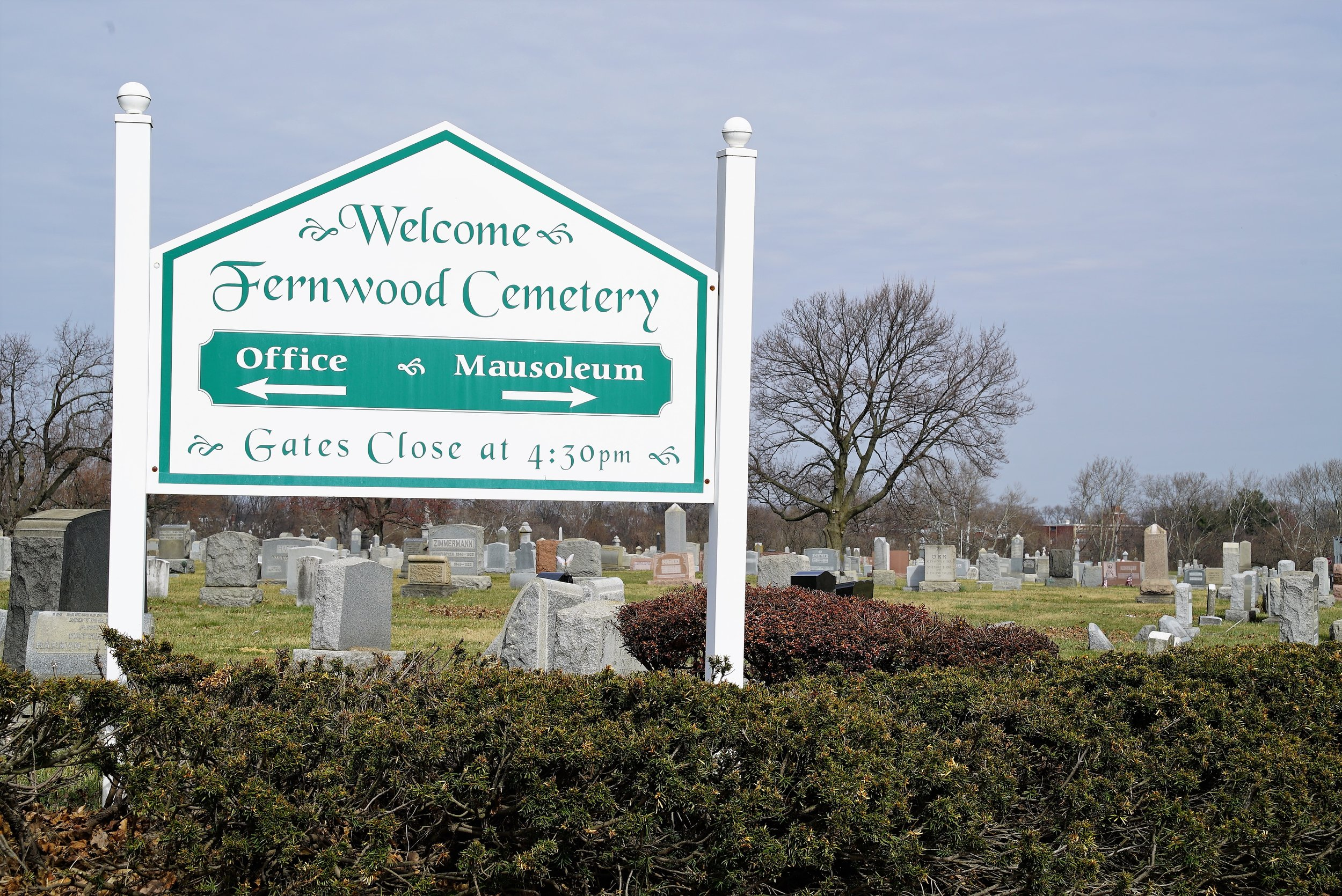 Sign at the entrance of Fernwood Cemetery, Lansdowne, Pennsylvania.