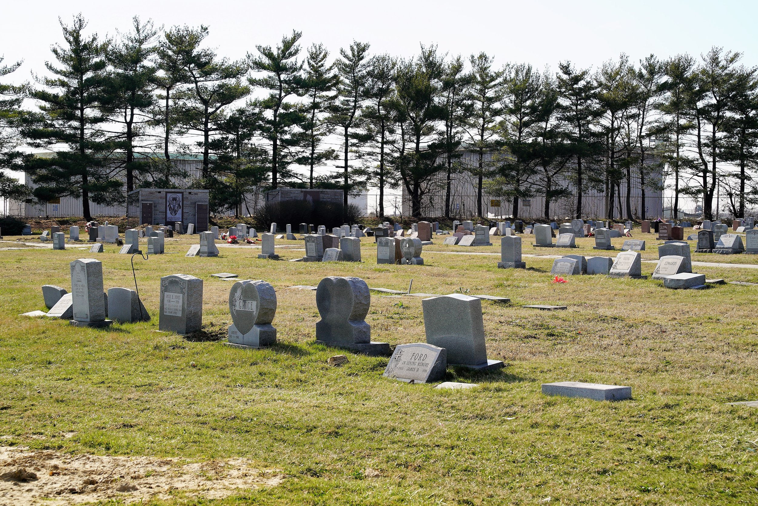 Mount Lawn Cemetery, Sharon Hill, PA. One section backs up to a tank farm.