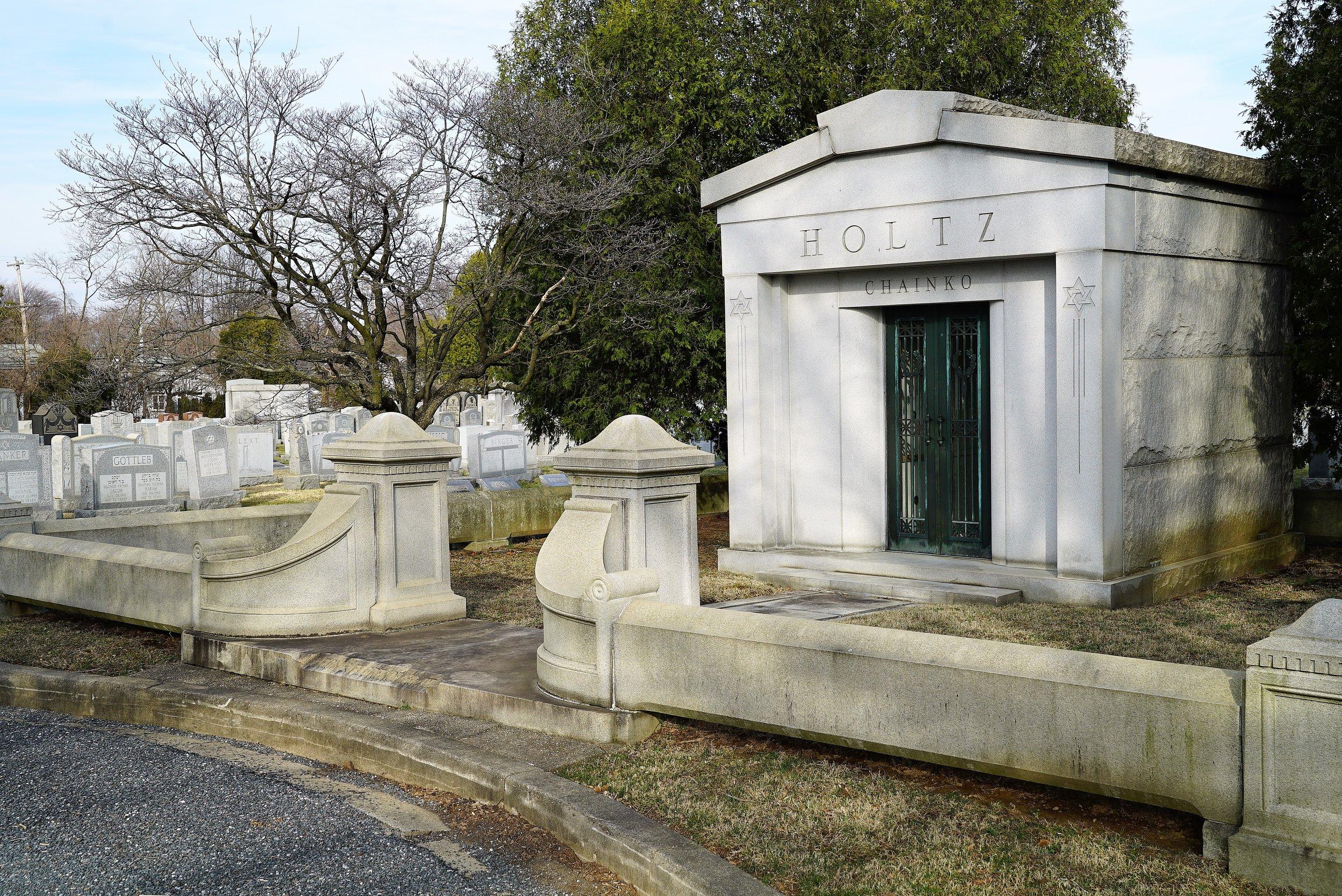 A mausoleum at Mt. Sharon Cemetery, Springfield, Pennsylvania.