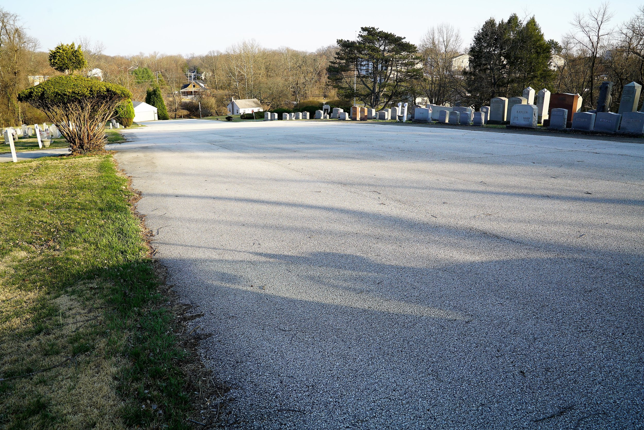 Ample parking at Ohev Shalom Cemetery in Brookhaven, PA. (Don't forget to engage your parking brake.)