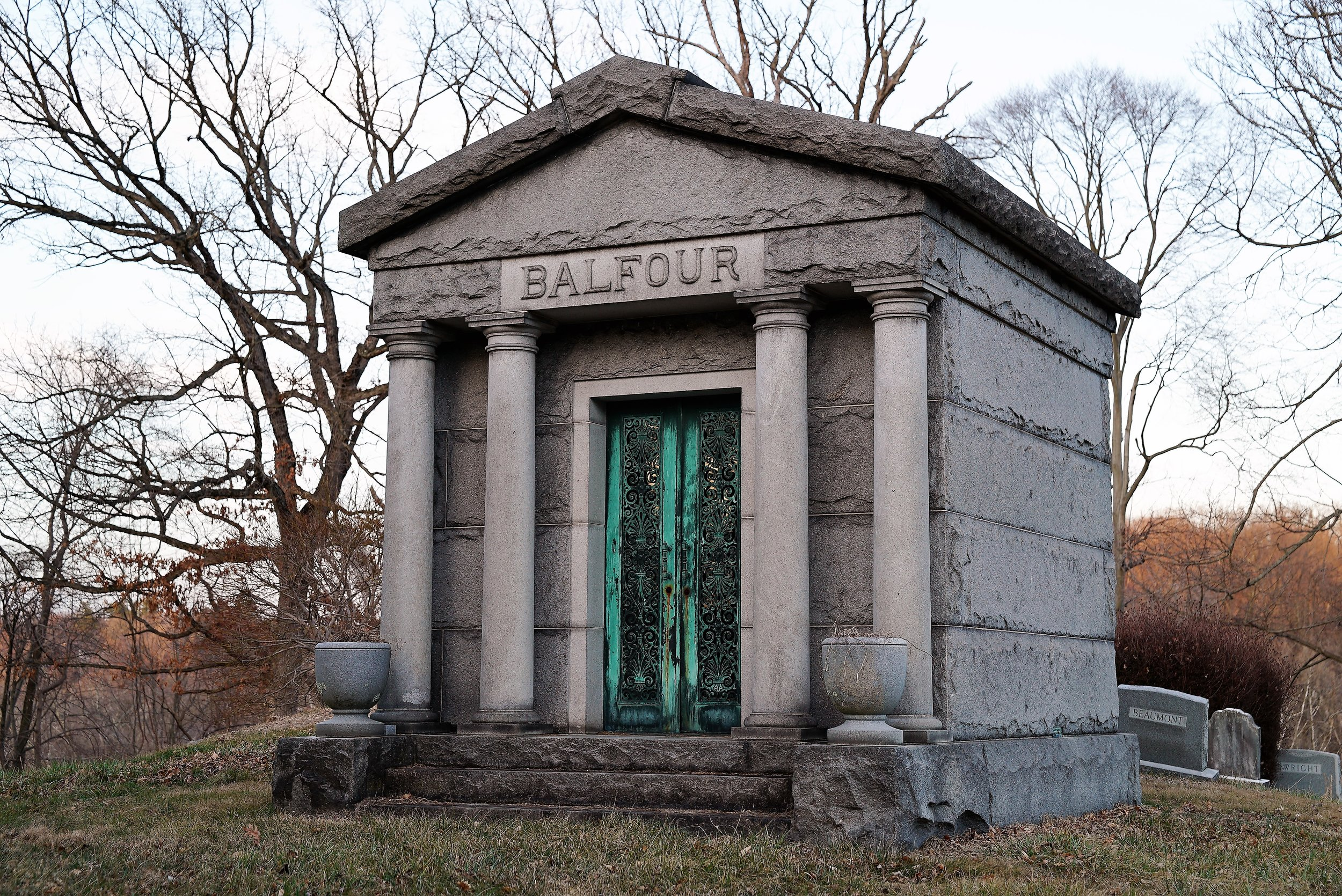 """A mausoleum located at Calvary Episcopal Church Cemetery in Aston, PA. The neighborhood is known as """"Rockdale."""""""