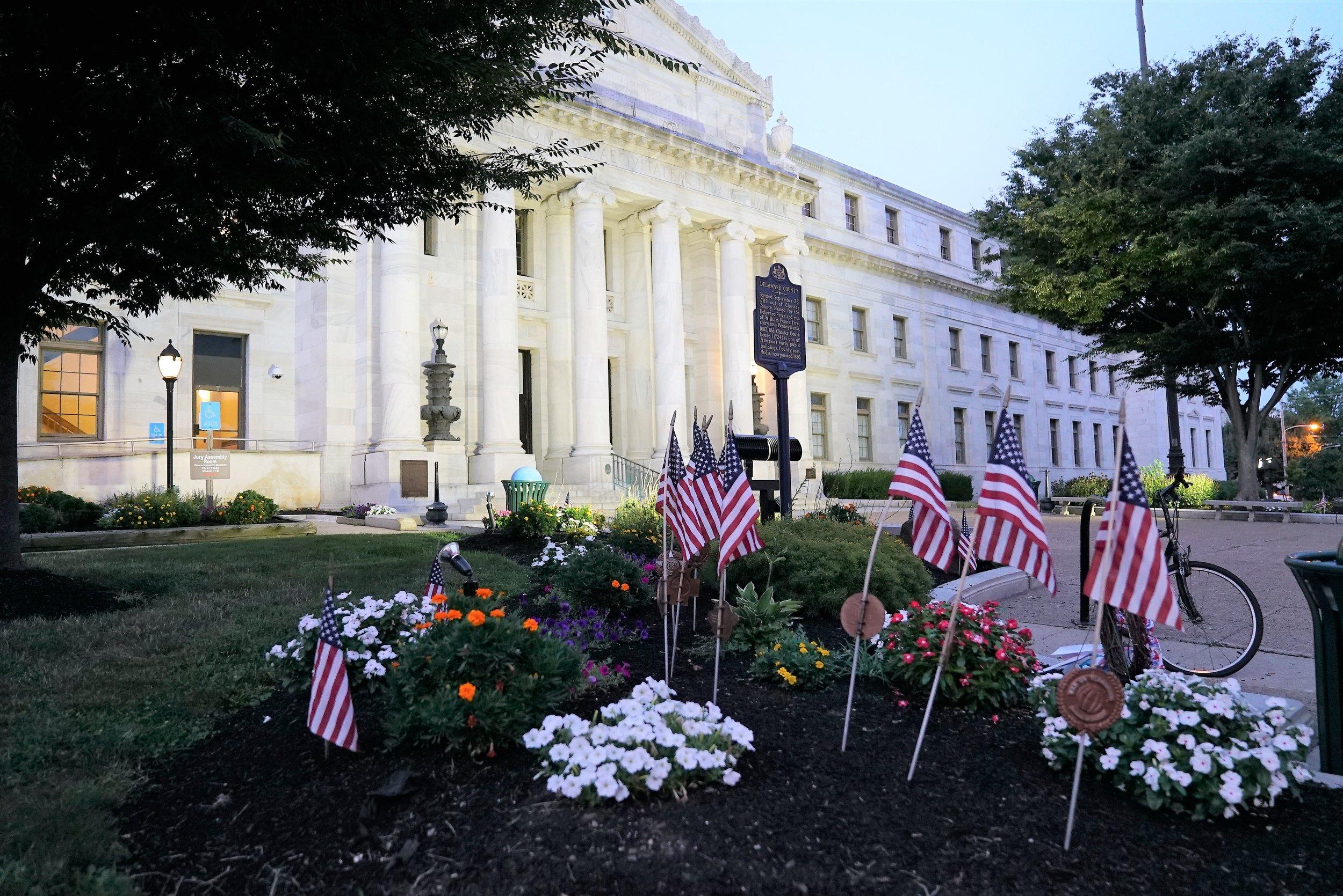 Photo: Entrance to Delaware County Courthouse. Media, Pennsylvania.