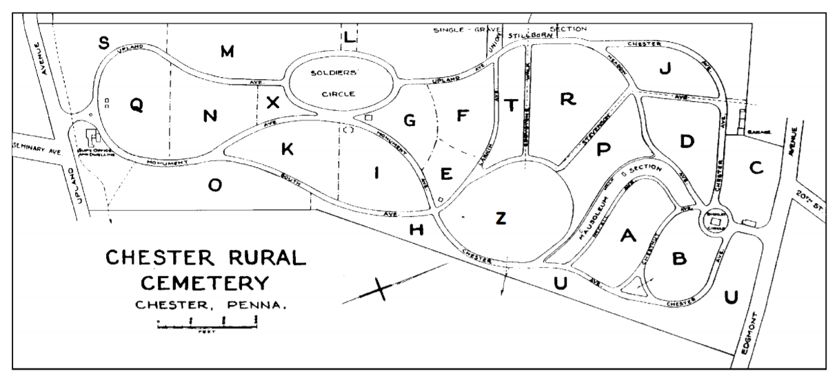 Map of Chester Rural Cemetery. Chester, Pennsylvania.