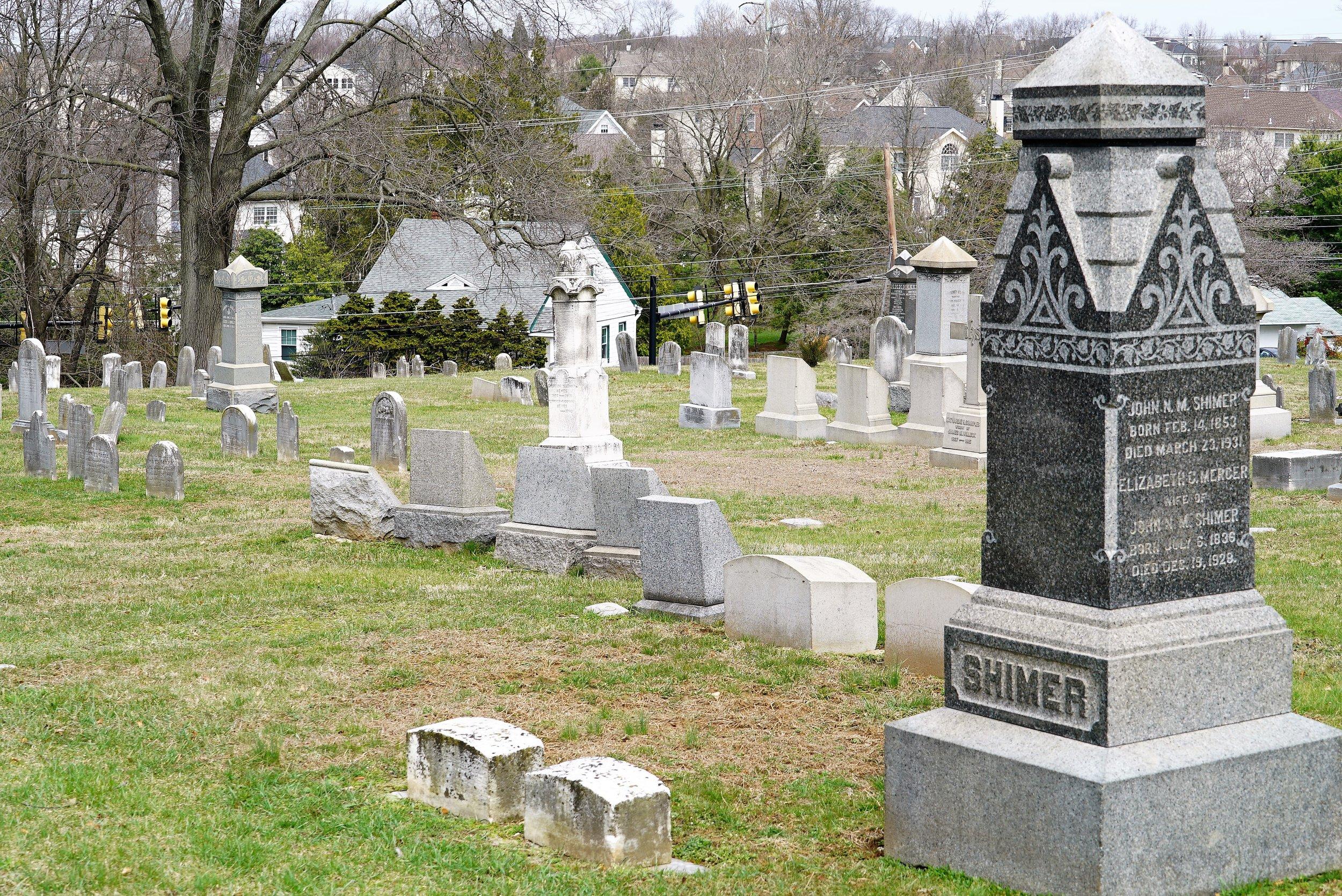 The hillside cemetery at Saint John's Episcopal Church. Glen Mills, PA.