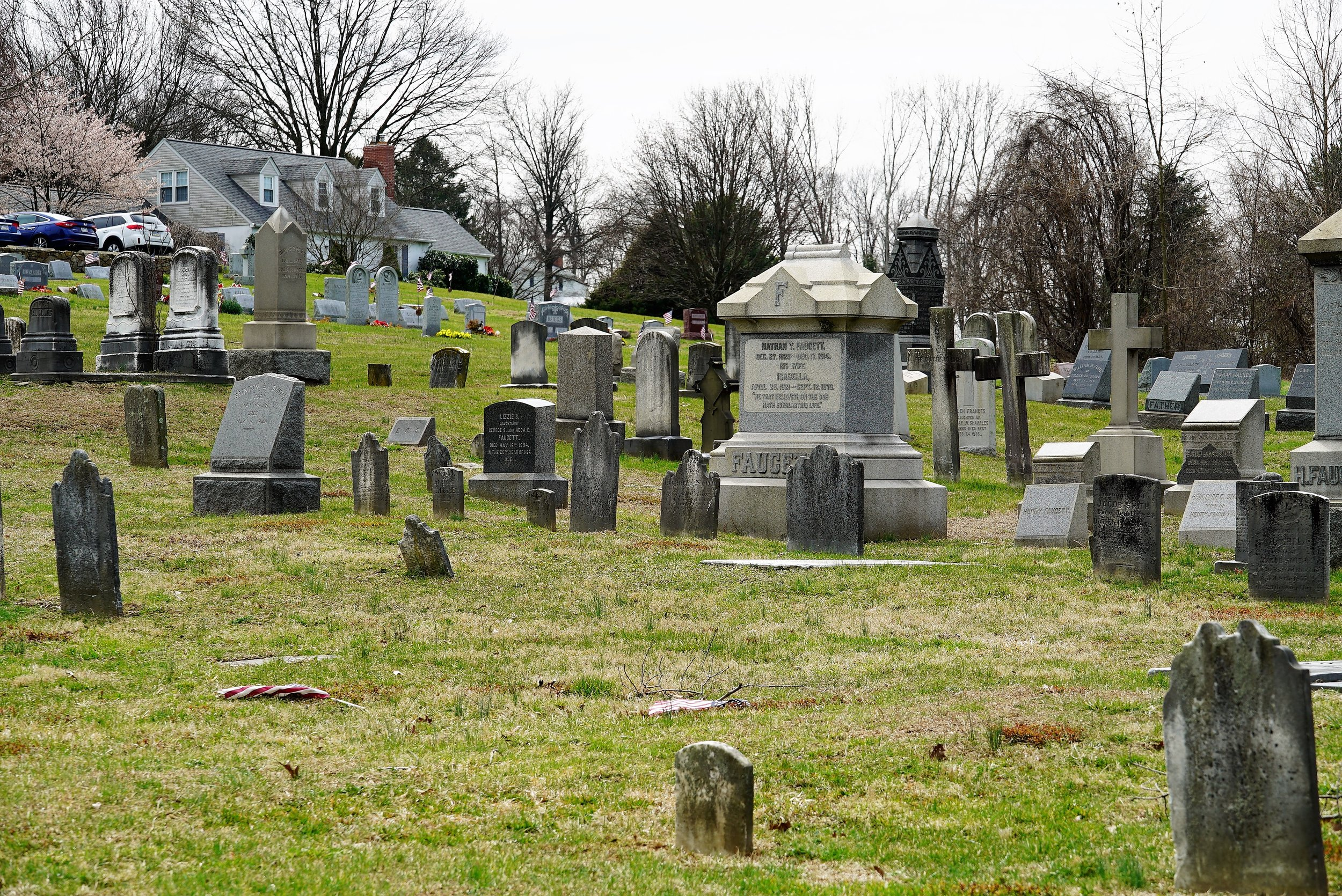 A view up the hill. Saint John's Episcopal Church Cemetery. Glen Mills, PA.