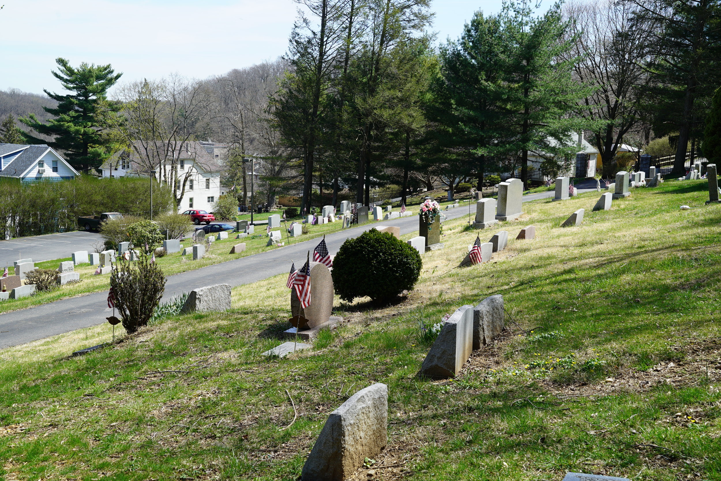 The entire cemetery grounds is one big hill. Saint Francis De Sales Church Cemetery. Lenni, PA.