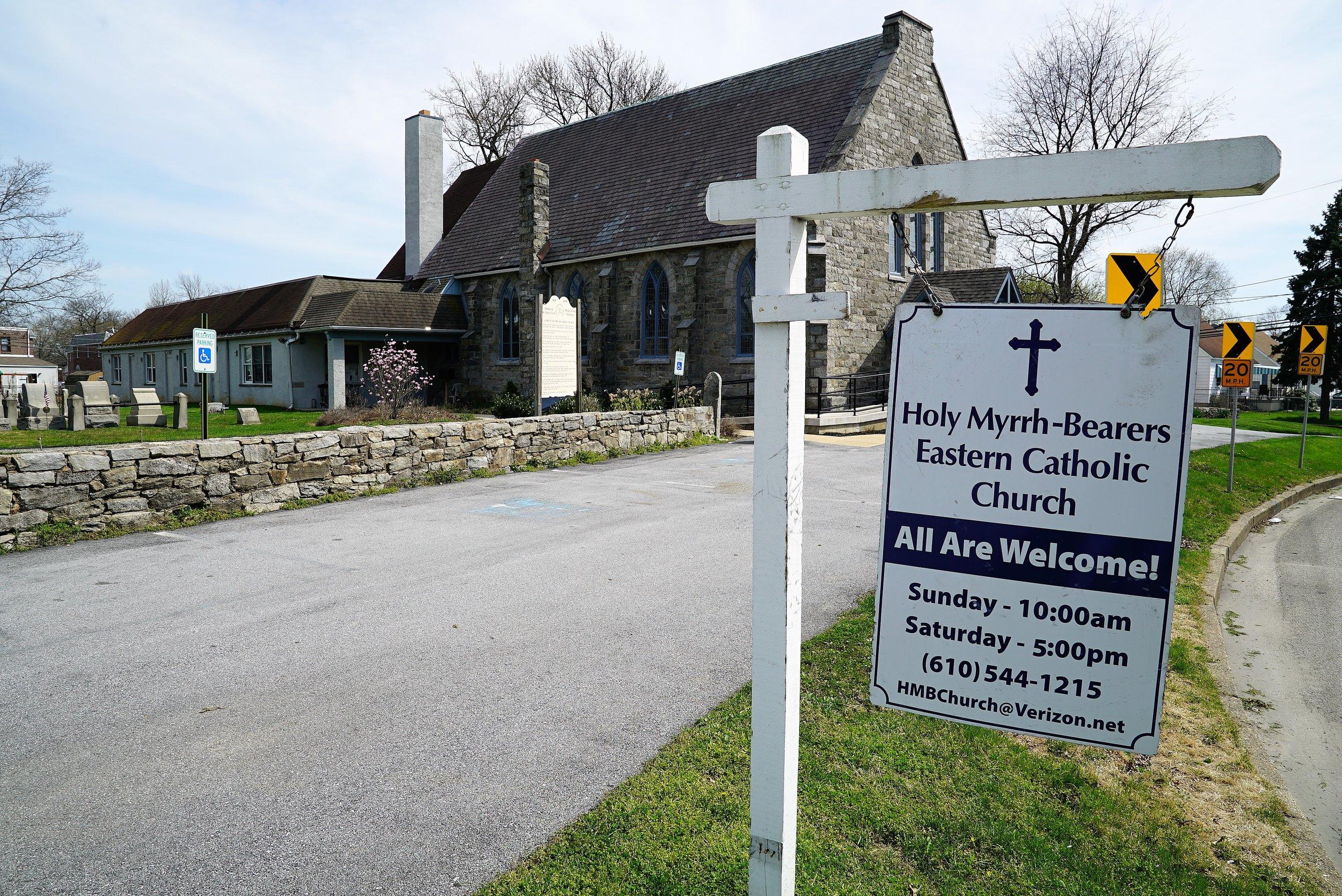 Sign for the Church that took over Leiper Presbyterian's location (Holy Myrrh-Bearers Eastern Catholic Church.)