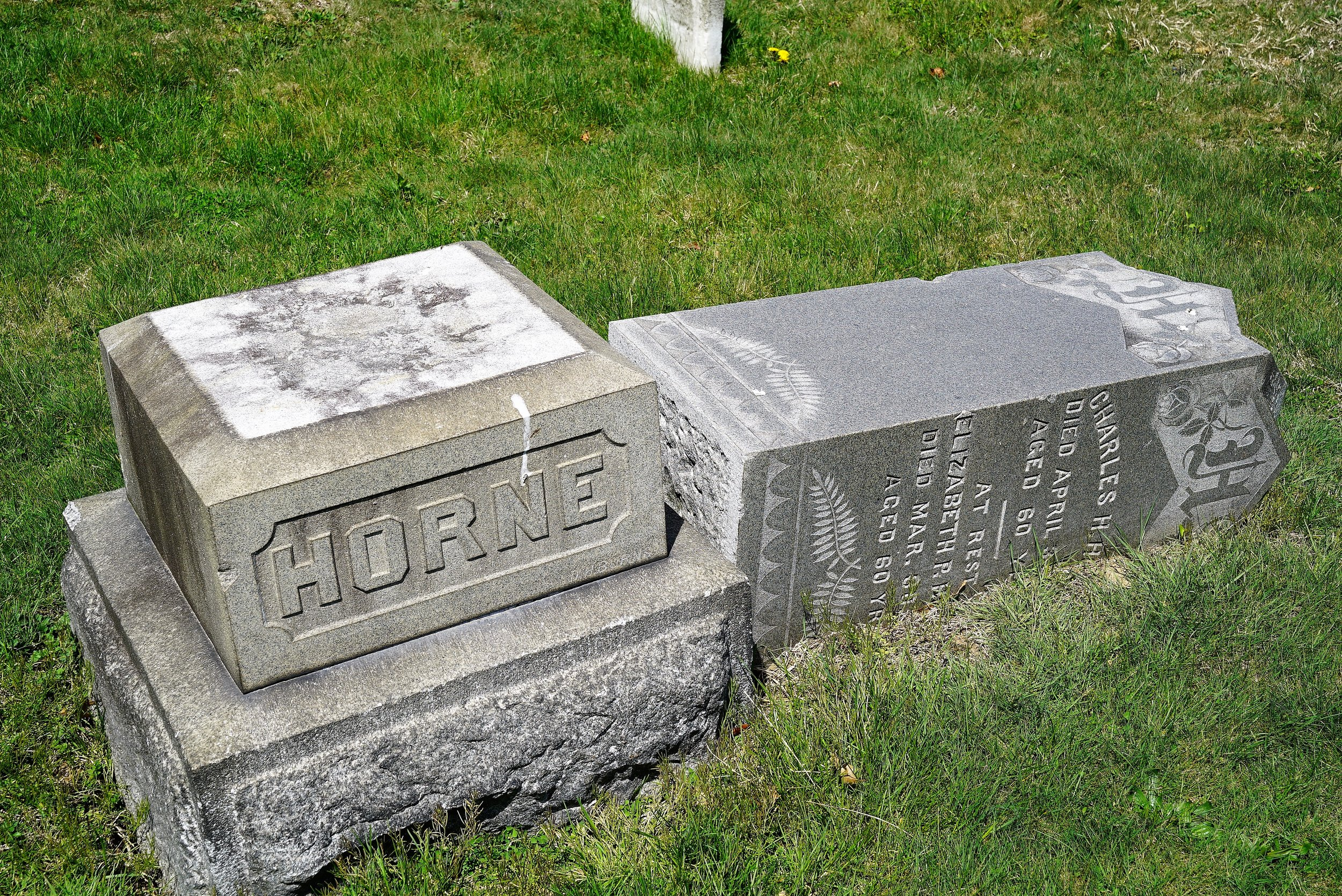 A monument waiting for help. Prospect Hill Baptist Church Cemetery. Prospect Park, PA.
