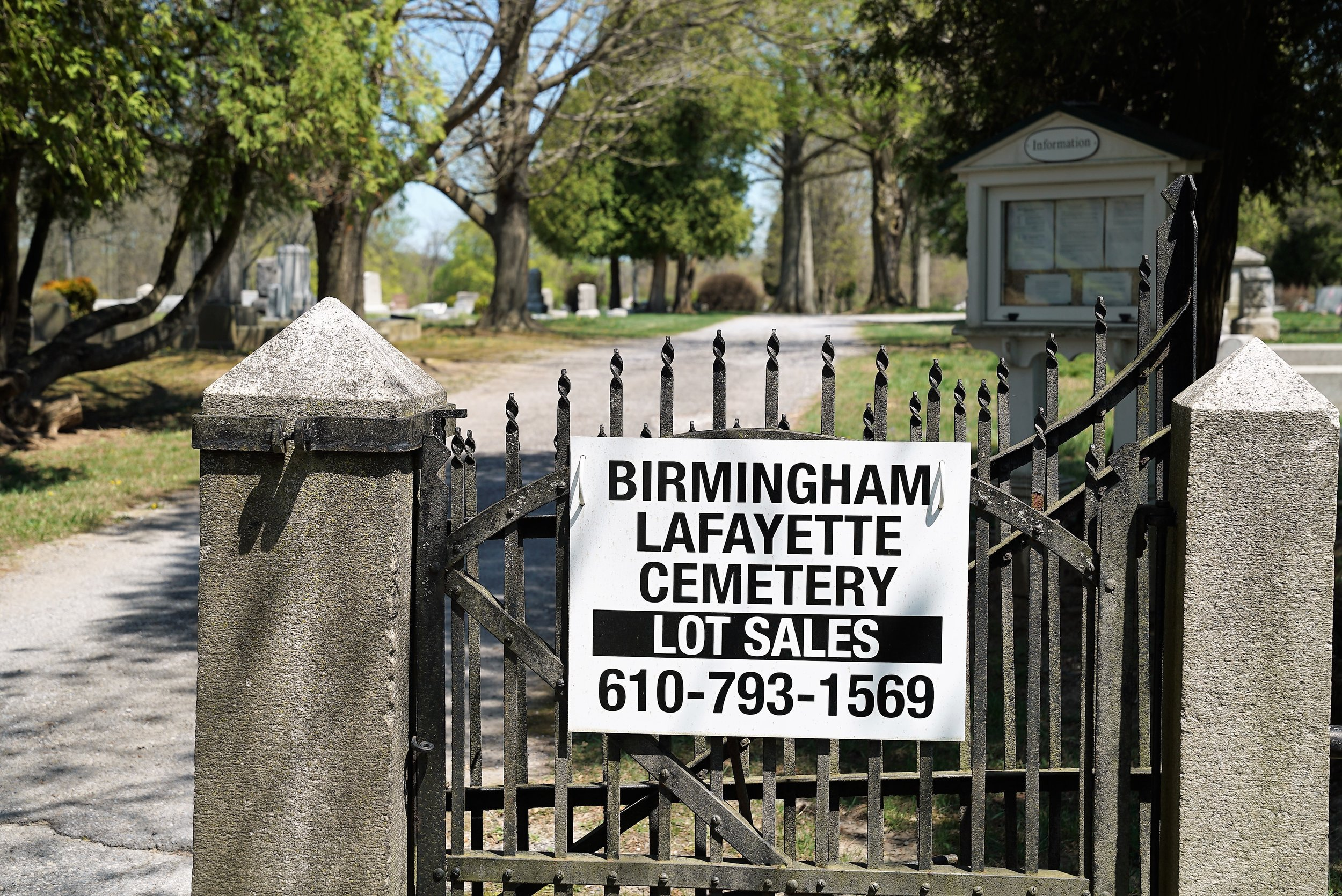 Burial lots are still available: Birmingham Lafayette Cemetery. West Chester, Pennsylvania.